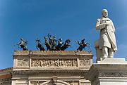Quadriga on top of theTeatro Politeama Garibaldi, Palermo, Sicily, Italy. In Front, Sculpture of Garibaldi