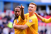 Preston North End Forward Daniel Johnson (11) points to his fans after scoring the winner during the Sky Bet Championship match between Reading and Preston North End at the Madejski Stadium, Reading, England on 30 April 2016. Photo by Jon Bromley.