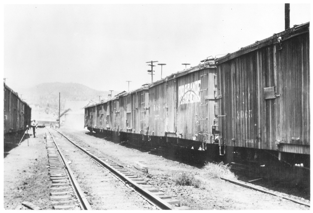 """Durango yard scene of box car string including D&RGW #3055 (paritial) and RGS #3257.  According to Richard Dorman, this was most likely a hoax lettering job (see """"Durango"""" p. 172).<br /> D&RGW & RGS  Durango, CO  Taken by Pollack, Tom - ca. 1948<br /> See also RD054-029 for a better view of #3257."""