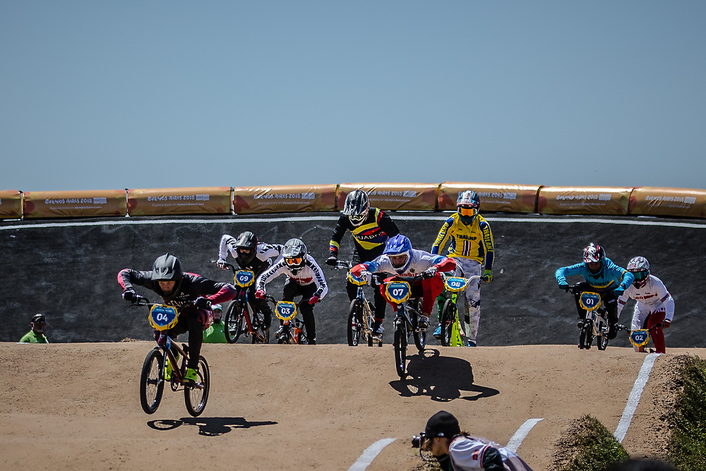 2018 Youth Olympic Games<br /> Buenos Aires, Argentina<br /> Mixed BMX - Race<br /> Final Men<br /> GLAZERS Edvards (LAT)<br /> BESKROVNYY Ilia (RUS)<br /> CHAMORRO Efrain (ECU)<br /> SUKPRASERT Komet (THA)<br /> RAMIREZ Juan (COL)<br /> CALKIN Cailen (NZL)<br /> CULLEN Ross (GBR)<br /> SCHUNCK Kevin (SUI)