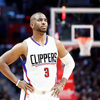 12 December 2016: LA Clippers guard Chris Paul (3) rests during the LA Clippers 121-120 victory over the Portland Trail Blazers, at the Staples Center, Los Angeles, California, USA.