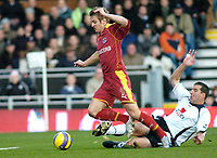 Photo: Gareth Davies.<br />Fulham v Reading. The Barclays Premiership. 25/11/2006.<br />Reading's Kevin Doyle (L) is fouled by Fulham defender Ian Pearce (R) who is sent off for his tackle.