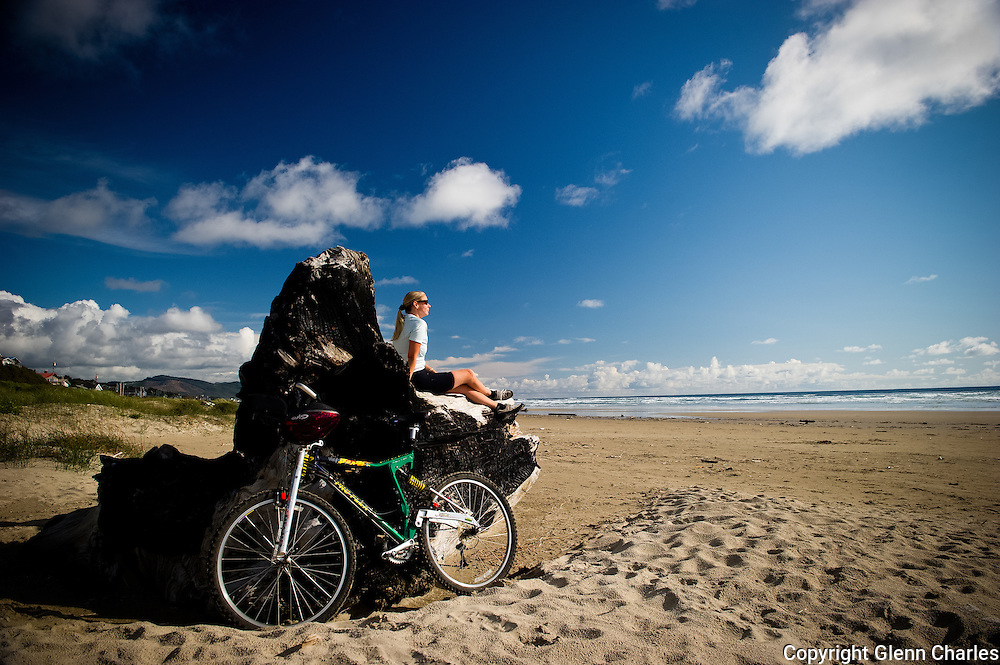 Bicycling Manzanita Beach, Oregon,