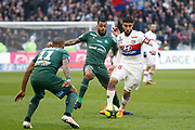 Nabil Fekir of Lyon and Yann M'Vila of Saint Etienne and Gabriel Antunes Da Silva of Saint Etienne during the French Championship Ligue 1 football match between Olympique Lyonnais and AS Saint-Etienne on february 25, 2018 at Groupama stadium in Décines-Charpieu near Lyon, France - Photo Romain Biard / Isports / ProSportsImages / DPPI