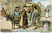 Artist's reconstruction of an itinerant 16th century bookseller with covered donkey cart of books. Late 19th century Liebig trade card. Chromolithograph.