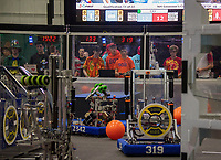 """The """"Big Bad Bob"""" team from Alton/Prospect Mountain High School competes during the qualifying rounds of the Governor's Cup FirstNH Robotics Competition held in the All Well North complex at PSU on Saturday.   (Karen Bobotas/for the Laconia Daily Sun)"""