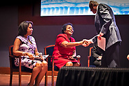Sharon Lavinge shaking hands with House Majority Leader Steny Hoyer  at the Congresional Convening on Environmental Justice.