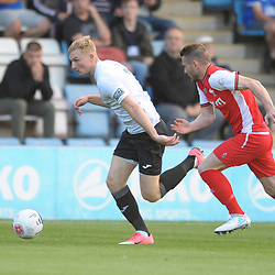 TELFORD COPYRIGHT MIKE SHERIDAN Telfords Chris Lait takes on Correy Davidson during the National League North fixture between AFC Telford United and Kidderminster Harriers on Tuesday, August 6, 2019.<br /> <br /> Picture credit: Mike Sheridan<br /> <br /> MS201920-006