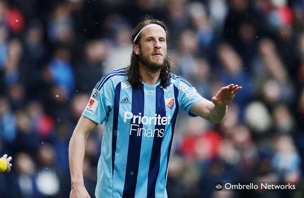 STOCKHOLM, SWEDEN - APRIL 16: Jonas Olsson of Djurgårdens IF during the Allsvenskan match between Djurgårdens IF and IF Elfsborg  at Tele2 Arena on April 16, 2017 in Stockholm, Sweden. Foto: Nils Petter Nilsson/Ombrello