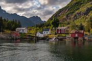 Small and isolated settlement at Svartsundet (Austvåg Island, Vestrålen) next to Raftsundet, Nordland, Norway.