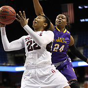 Tanaya Atkinson, (left), Temple, drives to the basket defended by I'Tiana Taylor, East Carolina, during the Temple Vs East Carolina Quarterfinal Basketball game during the American Women's College Basketball Championships 2015 at Mohegan Sun Arena, Uncasville, Connecticut, USA. 7th March 2015. Photo Tim Clayton