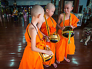 "06 APRIL 2015 - CHIANG MAI, CHIANG MAI, THAILAND: Newly ordained Buddhist novices leave the ""viharn,"" or prayer hall, after their ordination on the last day of the three day long Poi Song Long Festival in Chiang Mai. The Poi Sang Long Festival (also called Poy Sang Long) is an ordination ceremony for Tai (also and commonly called Shan, though they prefer Tai) boys in the Shan State of Myanmar (Burma) and in Shan communities in western Thailand. Most Tai boys go into the monastery as novice monks at some point between the ages of seven and fourteen. This year seven boys were ordained at the Poi Sang Long ceremony at Wat Pa Pao in Chiang Mai. Poy Song Long is Tai (Shan) for ""Festival of the Jewel (or Crystal) Sons.   PHOTO BY JACK KURTZ"