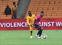 SOUTH AFRICA: JOHANNESBURG: Kaizer Chiefs player Godfrey Walusimbi battle for the ball with Black Leopards FC player Lifa Hlongwane during the ABSA premiership at the FNB stadium, Gauteng.<br />Picture: Itumeleng English/African News Agency (ANA)