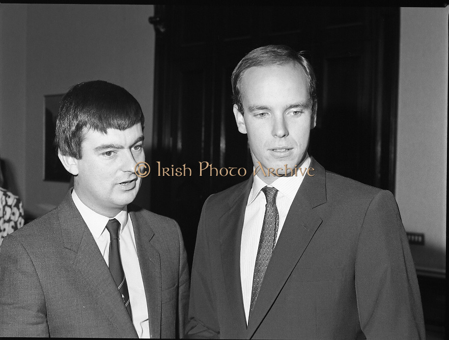 Prince Albert of Monaco at Iveagh House.1986..19.09.1986..09.19.1986.19th September 1986..Prince Albert of Monaco visited Iveagh House,Dublin as part of his visit to Ireland. He was welcomed by Minister of State at the Dept.,of Foreign Affairs,Mr George Bermingham T.D...Picture shows Prince Albert arriving at Iveagh House and being welcomed by Minister of State at the Dept.,of Foreign Affairs,Mr George Bermingham T.D.