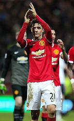 Ander Herrera of Manchester United celebrates with the fans - Photo mandatory by-line: Matt McNulty/JMP - Mobile: 07966 386802 - 16/02/2015 - SPORT - Football - Preston - Deepdale - Preston North End v Manchester United - FA Cup - Fifth Round