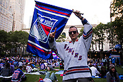 May 20, 2015 - New York, NY. Thomas Condello enjoys the pre-game festivities at Bryant Park, prior to the beginning of Game 3 of Rangers VS Tampa. Photograph by Anthony Kane/NYCity Photo Wire