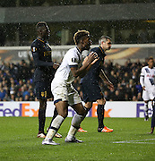 Tottenham Hotspur midfielder Joshua Onomah missing a chance during the Europa League match between Tottenham Hotspur and Monaco at White Hart Lane, London, England on 10 December 2015. Photo by Matthew Redman.