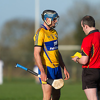 Clare's Brendan Bugler receives a booking during the Senior Hurling Game