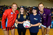 Tactix captain Anna Thompson and Queensland captain Laura Geitz with ANZ Future Captains Sarah Barlow(L) and Deanna Bary during the ANZ Championship Netball game between the Mainland Tactix v Queenland Firebirds. Marlborough Lines Stadium 2000, Blenheim, New Zealand. Sunday 24 May 2015. Copyright Photo: Chris Symes / www.photosport.co.nz