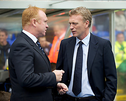 BIRMINGHAM, ENGLAND - Saturday, October 2, 2010: Everton's manager manager David Moyes and Birmingham City's manager manager Alex McLeish before the Premiership match at St Andrews. (Photo by David Rawcliffe/Propaganda)