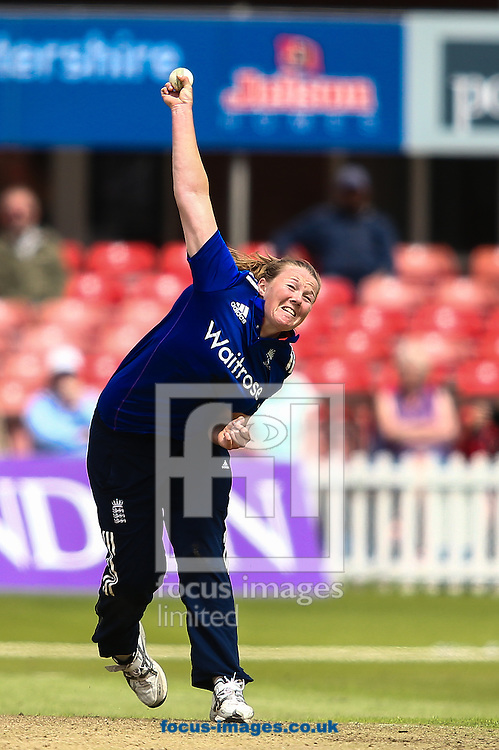 Anya Shrubsole of England in delivery stride during the Royal London One Day Series match at Fischer County Ground, Leicester<br /> Picture by Andy Kearns/Focus Images Ltd 0781 864 4264<br /> 21/06/2016