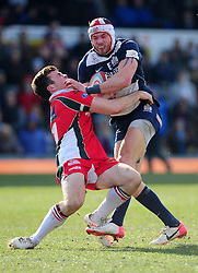Plymouth Albion Winger (#11) Tom Bowen is pushed aside by Bristol Winger (#11) Ryan Edwards - Photo mandatory by-line: Dougie Allward/JMP - Tel: Mobile: 07966 386802 31/03/2013 - SPORT - RUGBY - Memorial Stadium - Bristol. Bristol v Plymouth Albion - RFU Championship.
