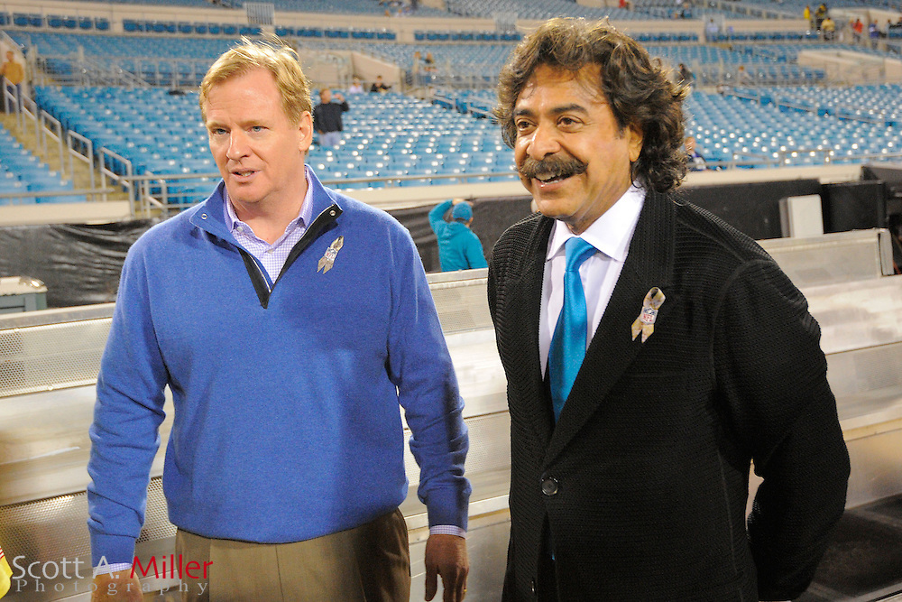NFL Commissioner Roger Goodell and Jacksonville Jaguars owner Shahid Khan prior to an  NFL football game between the Jacksonville Jaguars and the Indianapolis Colts at EverBank Field on November 8, 2012 in Jacksonville, Florida.  The Colts won 27-10. .©2012 Scott A. Miller..