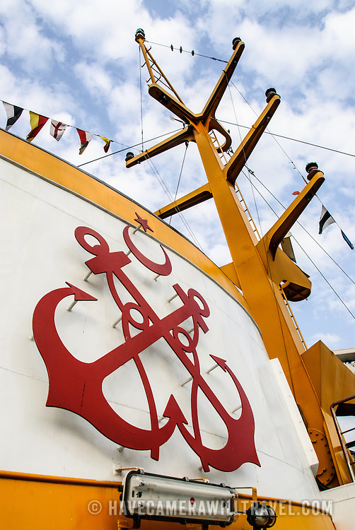 Turkish maritime insignia on the stack of a ferry on the Golden Horn in Istanbul