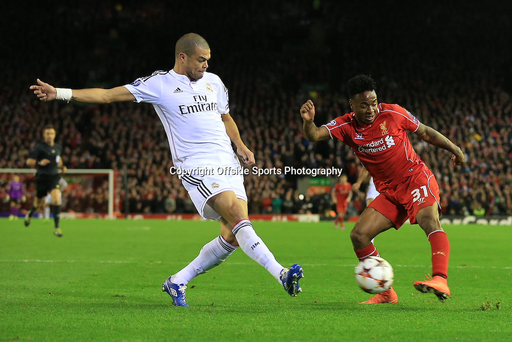 22nd October 2014 - UEFA Champions League - Group B - Liverpool v Real Madrid - Pepe of Real blocks a shot from Raheem Sterling of Liverpool - Photo: Simon Stacpoole / Offside.