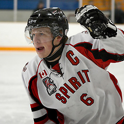STOUFFVILLE, ON - Feb 6 : Ontario Junior Hockey League Game Action between the Stouffville Spirit Hockey Club and the Aurora Tigers Hockey Club.  Matthew Heffernan #6 of the Stouffville Spirit Hockey Club during first period game action.<br /> (Photo by Michael DiCarlo / OJHL Images)
