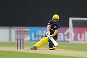 Rilee Rossouw of Hampshire playing a ramp shot during the Royal London One Day Cup match between Hampshire County Cricket Club and Middlesex County Cricket Club at the Ageas Bowl, Southampton, United Kingdom on 23 April 2019.