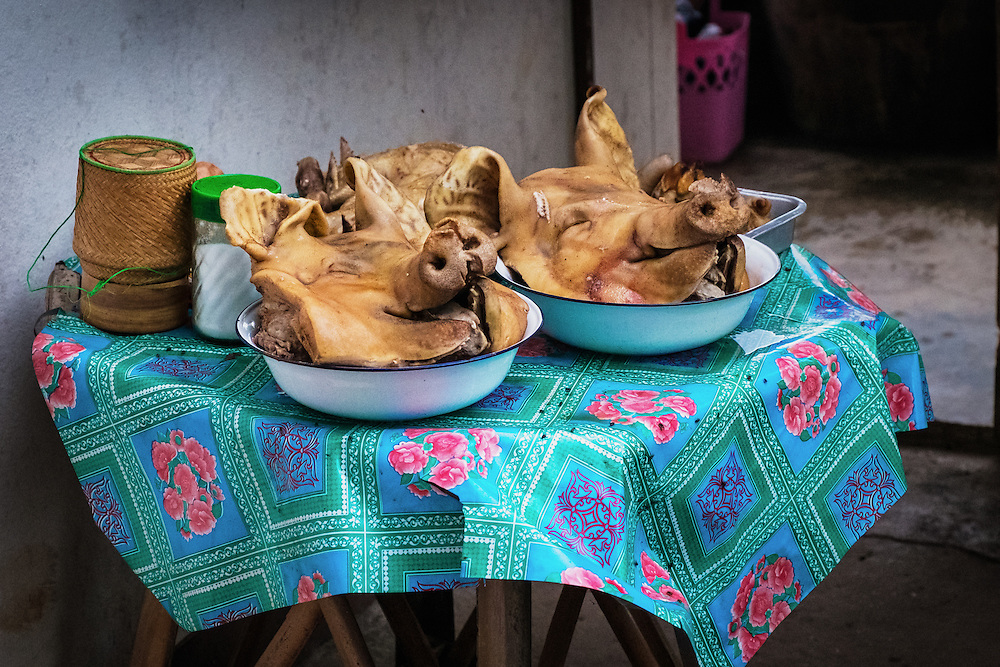 Pigs heads and ducks are prepared to Feed The Spirits in Nakhon Nayok, Thailand PHOTO BY LEE CRAKER