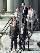 US President Bill Clinton walks with Senator John Breaux and Vice President Al Gore following an announcement on the first federal budget surplus in 29 years during an event at the White House September 30, 1998 in Washington, DC.