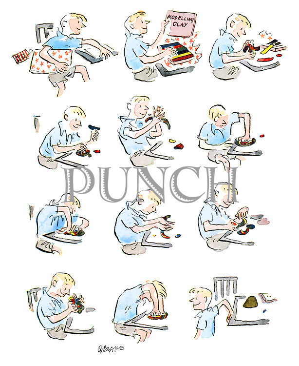 (A boy receives multi-coloured modelling clay for Christmas but squashes it all together until it turns muddy)
