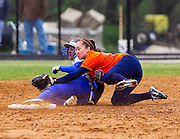 Hampton University Junior Rebecca Magett steals second during Hampton's doubleheader split against Morgan State at the Lady Pirates Softball Complex on the campus of Hampton University in Hampton, Virginia.  (Photo by Mark W. Sutton)