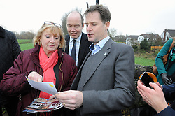 © Licensed to London News Pictures. 02/12/2014 <br /> Nick Clegg with Geraldine Brown (Chairman of Yalding Parish Council) Geraldine showing Mr Clegg pictures from last years flooding.<br /> <br /> The deputy prime minister Nick Clegg has been in Yalding in Kent today (02.12.2014) to annouce funding for flood defences in the village. This comes a year after the Kent town was severly flooded last Christmas.<br /> (Byline:Grant Falvey/LNP)