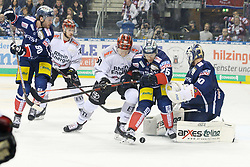 01.03.2019, O2 World, Berlin, GER, DEL, Eisbaeren Berlin vs Koelner Haie, 52. Runde, im Bild Action im Torraum, v.l. Constantin Braun - Eisbaeren, Alexander Oblinger #50 - Haie, Michael DuPont - Eisbaeren, Kevin Poulin - Eisbaeren // during the DEL 52th round match between Eisbaeren Berlin and Koelner Haie at the O2 World in Berlin, Germany on 2019/03/01. EXPA Pictures © 2019, PhotoCredit: EXPA/ Eibner-Pressefoto/ Uwe Koch<br /> <br /> *****ATTENTION - OUT of GER*****