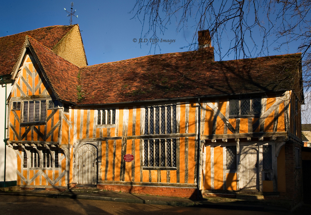 Lavenham townscapes and architecture: Little Hall, now a museum, was a house built in the 14th century, enlarged in the 16th century, and eventually housed several families.  Restored in the 1920s by the Gayer-Anderson twin brothers, in 1975 it was given to the Suffolk Preservation Trust.  See history and program at http://www.littlehall.org.uk/littlehall/index.htm.  It is the oldest house in Lavenham.