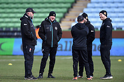 Rob Hunter, Ali Hepher and Julian Salvi look on during the pre-match warm-up - Mandatory byline: Patrick Khachfe/JMP - 07966 386802 - 29/02/2020 - RUGBY UNION - The Twickenham Stoop - London, England - Harlequins v Exeter Chiefs - Gallagher Premiership