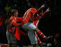 Photo: Richard Lane/Richard Lane Photography. Watford v Blackpool. Coca Cola Championship. 01/11/2008. Ben Burgess celebrates