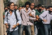 "Actor Gael Garcia Bernal, in the role of Maziar Bahari on the set of Jon Stewart's feature film ""Rosewater."""