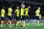 Burton Albion forward Liam Boyce (27) scores a goal and celebrates, 1-0 during the second round or the Carabao EFL Cup match between Burton Albion and Aston Villa at the Pirelli Stadium, Burton upon Trent, England on 28 August 2018.