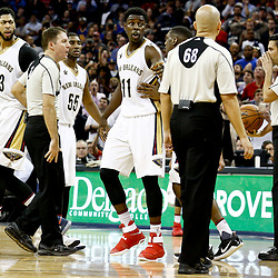 Dec 13, 2016; New Orleans, LA, USA;  New Orleans Pelicans forward Anthony Davis (23) is called for a technical foul after arguing with an officials over not getting a foul called during the fourth quarter of a game at the Smoothie King Center. The Warriors defeated the Pelicans 113-109. Mandatory Credit: Derick E. Hingle-USA TODAY Sports