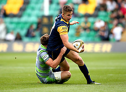 Huw Taylor of Worcester Warriors is tackled - Mandatory by-line: Robbie Stephenson/JMP - 29/07/2017 - RUGBY - Franklin's Gardens - Northampton, England - Worcester Warriors v Newcastle Falcons - Singha Premiership Rugby 7s