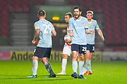 Seamus Conneely of Accrington Stanley (28) and Billy Kee of Accrington Stanley (29) celebrate the 1-2 win at the full time whistle during the EFL Sky Bet League 1 match between Doncaster Rovers and Accrington Stanley at the Keepmoat Stadium, Doncaster, England on 23 April 2019.