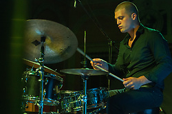 August 4, 2017 - Roma, Italy, Italy - Matteo Cidale and Valerio Vantaggio, two young Italian jazz drummer talents performed on 4/8/2017 in the splendid frame of Villa Celimontana in Rome. With them on stage Leonardo Corradi at the Hammond organ and one of the best international jazz trumpeters, Flavio Boltro. Valerio Vantaggio (Credit Image: © Leo Claudio De Petris/Pacific Press via ZUMA Wire)