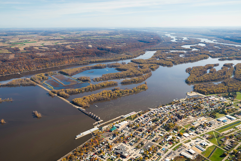 Aerial photograph of Guttenberg, Iowa and Lock & Dam Number 10 on the MIssissippi River.