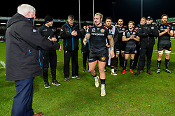 Exeter Chiefs CEO Tony Rowe OBE presents Jack Nowell of Exeter Chiefs with his Centurion award after making his 100th Appearance for Exeter Chiefs during their win over Saracens - Mandatory by-line: Ryan Hiscott/JMP - 29/12/2019 - RUGBY - Sandy Park - Exeter, England - Exeter Chiefs v Saracens - Gallagher Premiership Rugby