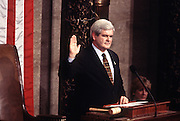 House Speaker Newt Gingrich is sworn in for another term as Speaker of  the House of Representatives January 7, 1997 in Washington, DC.