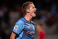SYDNEY, AUSTRALIA - APRIL 10: Sydney FC player Brandon O'neill (13) celebrates the goal of Alex Brosque (14) at The AFC Champions League football game between Sydney FC and Shanghai SIPG FC on April 10, 2019, at Netstrata Jubilee Stadium in Sydney, Australia. (Photo by Speed Media/Icon Sportswire)